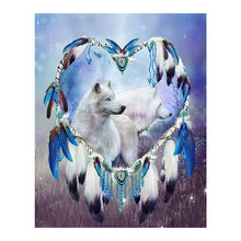 Animal Wolf Diamond Painting Full Round Indian feather New DIY Sticking Drill Cross Embroidery 5D simple Home Decoration