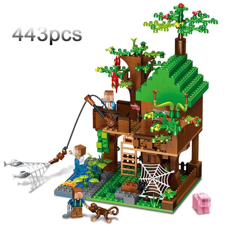 443pcs/set Minecraft Buildings Puzzle Blocks Bricks Building Set My World Accembly Toys Gift For Kids #E classic my world minecraft the nether fortress building blocks bricks enlighten toys for children kids lele bela 21122 legoingly