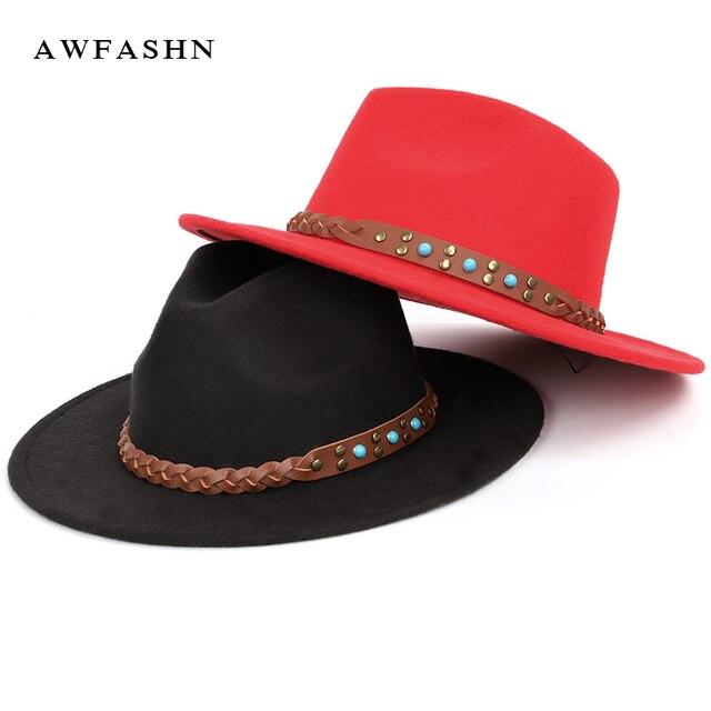 2018 New Fashion Men s Fedoras Women s Felt Hat Sombrero Jazz Wool Autumn Winter  Wide Brimmed Fedora Hats Large Vintage Classic 04268fadde60