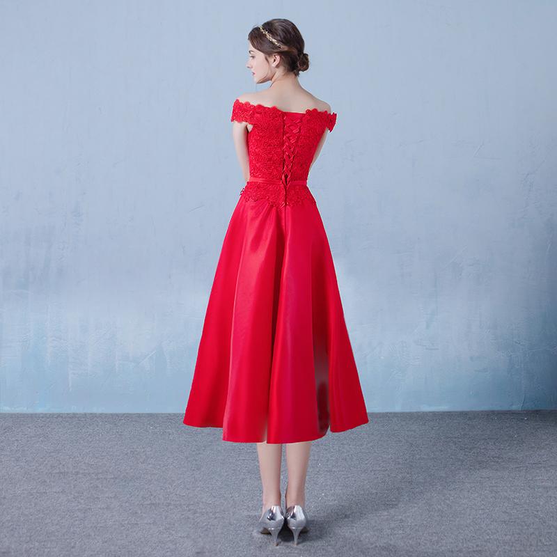 Satin Appliqued Tea-length Wedding Bridesmaid Dress