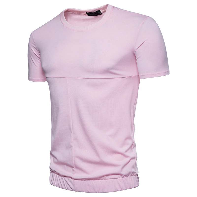 Mens clothing t shirts solid color fashion design stitching decorative round neck men short sleeves Tshirt male tops 3colour