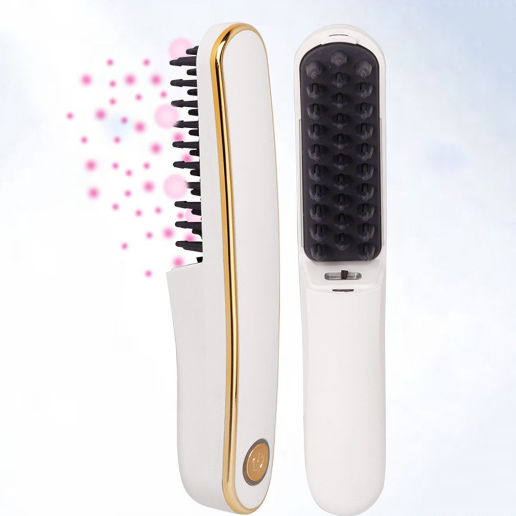 Electric Vibrating Hair Comb Straightener Brush Scalp Head Blood Circulation Massager Stress Relax USB Charging Battery Type blood circulation improvement head scalp neck massager silver