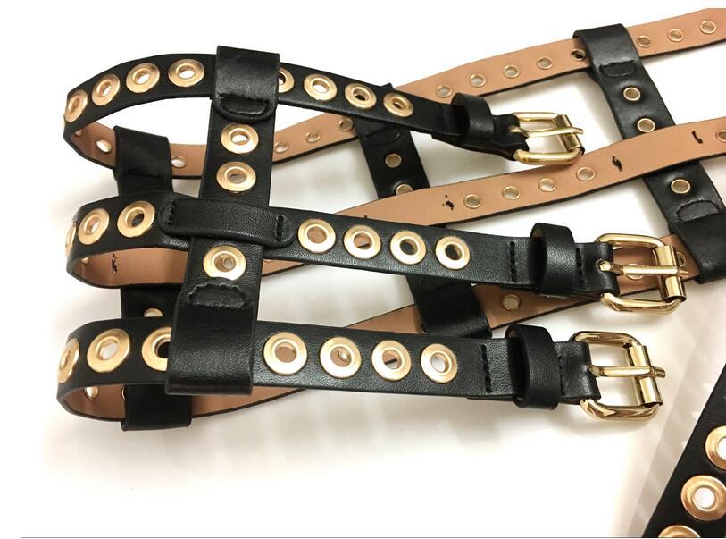 Liger personality punk ultra wide rivet cutout mesh belts for women cummerbund new arrival fashion punk wide belt accessories