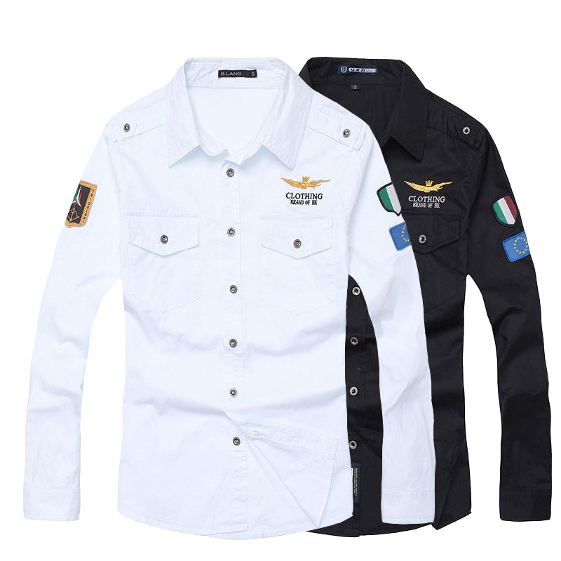 Mannhemd der Männer des Hemdes Luftwaffe eine lange Hülse männliches dünnes Sitzhemd 3XL camisas hombre camisa masculina