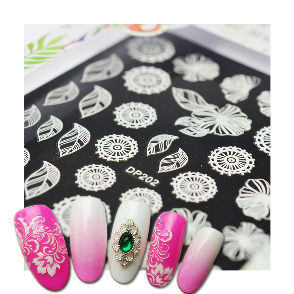 1pcs New Nail Art Sticker 3d Flower White Lace Summer Design Self Adhesive Nail Art Decoration Decal Slider DIY Tips SADP201-224 4 packs lot full cover white french smile lace tattoos sticker water decal nail art d363 366w