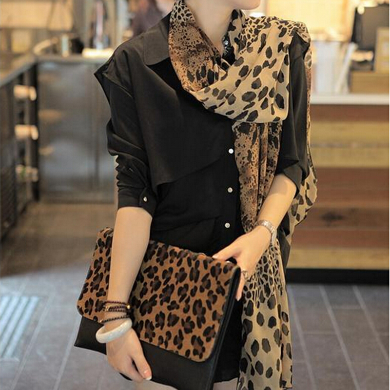 2019 Spring Women Trendy Shawls Leopard Printed Soft Long Wrap Scarf Ladies Thin Scarves Breathable Neckerchief Wraps Dropship