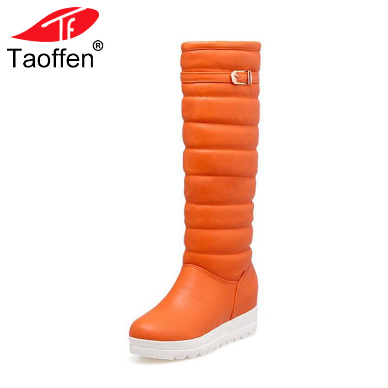 TAOFFEN Size 31-42 Women Knee Snow Boots Metal Buckle Wedges Boots Warm Fur Shoes In Cold Winter Botas Long Boots Women Footwear faux fur buckle knee high snow boots
