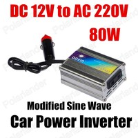 Wholesale DC 12V to AC 220V 80W Modified Sine Wave USB charger Car Power Inverter converter voltage transformer