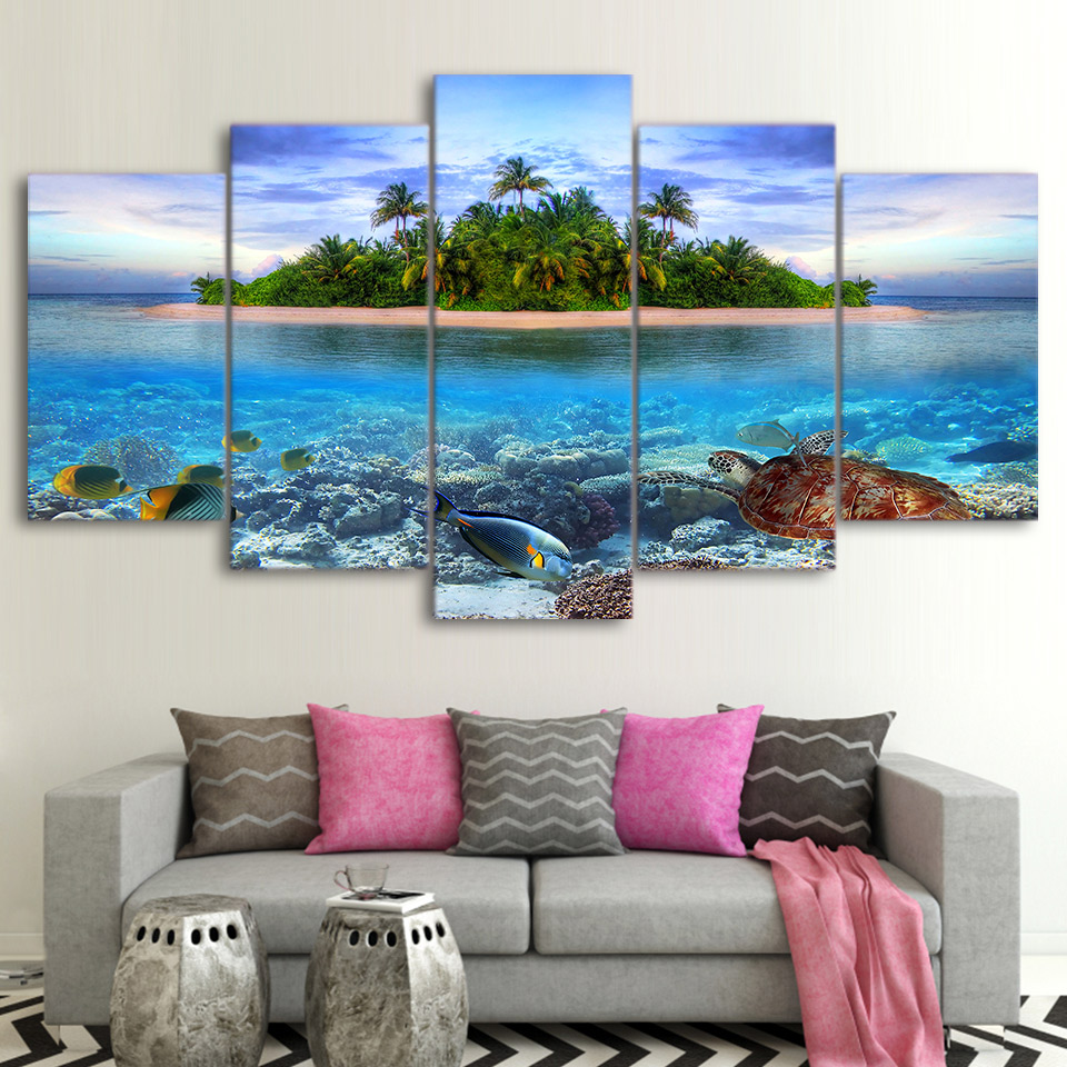 Canvas Paintings Wall Art 5 Pieces Marine Life Tropical Island Pictures HD Prints Sea Turtle Fish Palm Trees Posters Home Decor