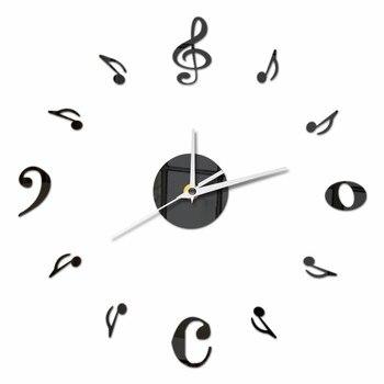 Music Note Wall Clock Acrylic Unique Quartz Mute Decorative Clock Modern Design DIY Self-adhesive Mirror Effect Wall Stickers 1