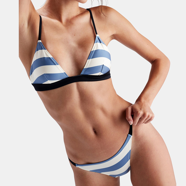 80217bb479 MEIMANDA 2018 new swimwear women Striped bikini Big breasts swimsuit Suit  with Pad micro bikini in bikiniS set push UP