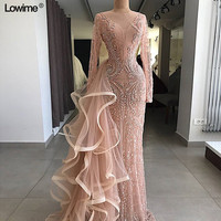 New Arrival Arabic Dubai Muslim Lace Evening Dress 2018 Long Abendkleider Scoop Evening Gown Prom Dress Long