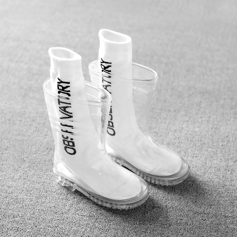 Kids Boys Girls Rainboots Children Transparent Waterproof Rain Shoes Students Child Baby Toddler Rain Boots Non-slip Size 24-32