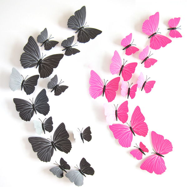 2015 Fashion Cute 12pcs PVC 3d Butterfly wall sticker decor ...