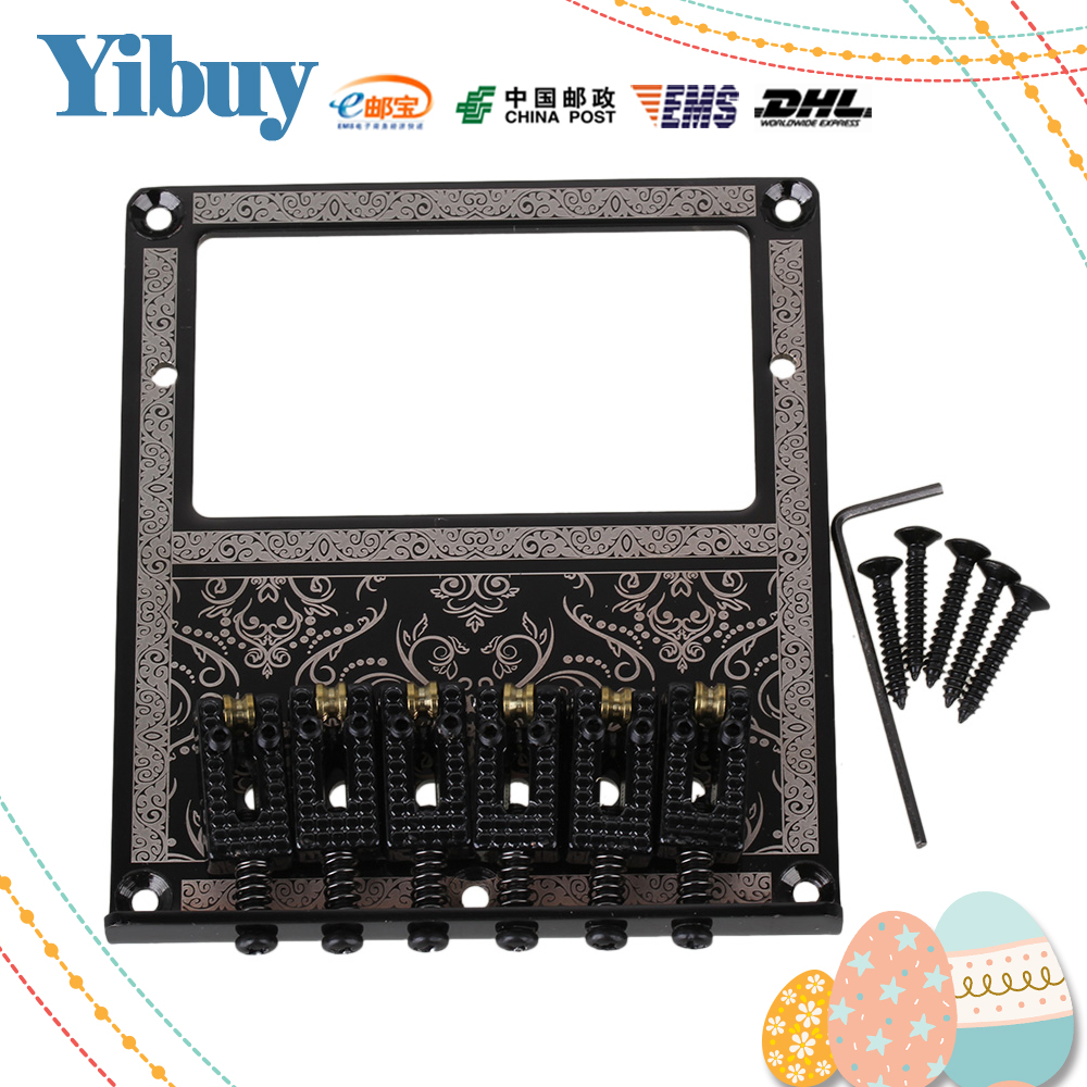 Yibuy 10.5mm Spacing Black Humbucker Bridge Saddle for Electric Guitar Flower Pattern black 6 saddle hardtail bridge top load 65mm electric guitar bridge b2c shop