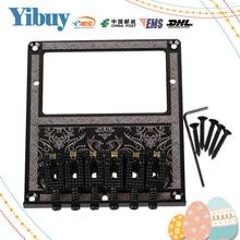 Yibuy 10.5mm Spacing Black Humbucker Bridge Saddle for Electric Guitar Flower Pattern