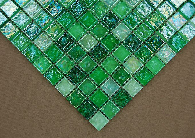 New Fresh Glazed Green Crystal Glass Mosaic Tile for kitchen wall ...
