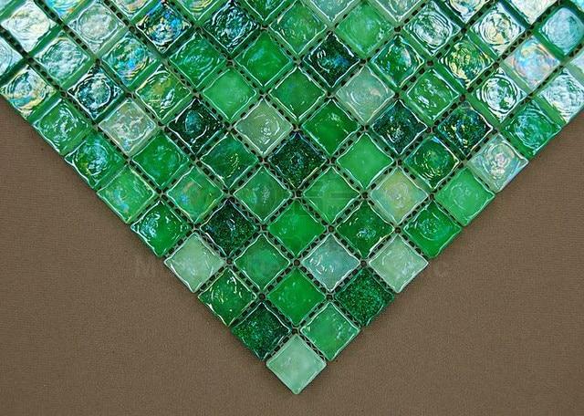Nuovo fresco smaltato verde cristallo mattonelle di for Mattonelle mosaico cucina