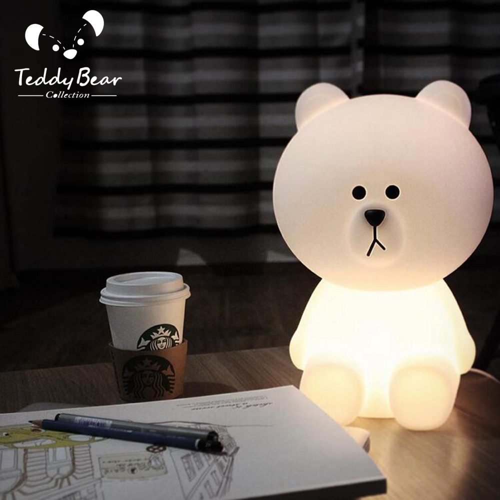 LED White Bear LED Bedroom toy sensor desk decoration light box ...