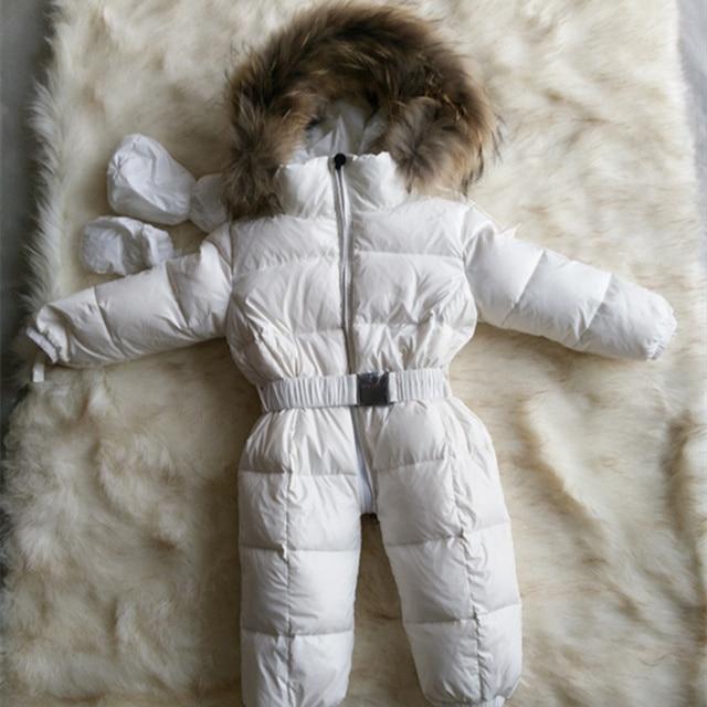 Высочайшее качество 2016 новых зимой ребенка вниз комбинезоны реального ракун меховой воротник дети пуховик тепловой сиамские одежды для детей 0-4 Т