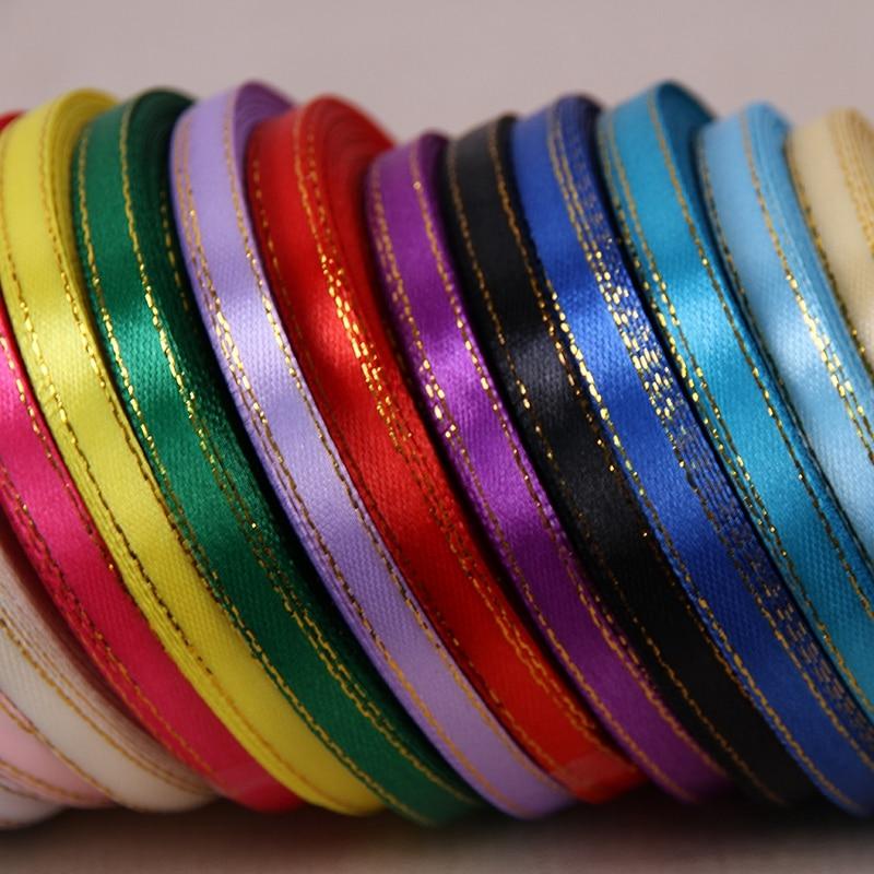 (25 ярдов/рулон) 1/4 »(6 мм) золотой край ленты атласные ленты высокого качества подарочная упаковка ленты