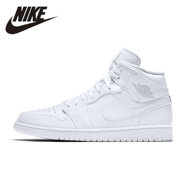 fcaf687bac30 NIKE AIR JORDAN 1 MID AJ1 Original Mens Basketball Shoes Stability  Breathable High Quality Sneakers For