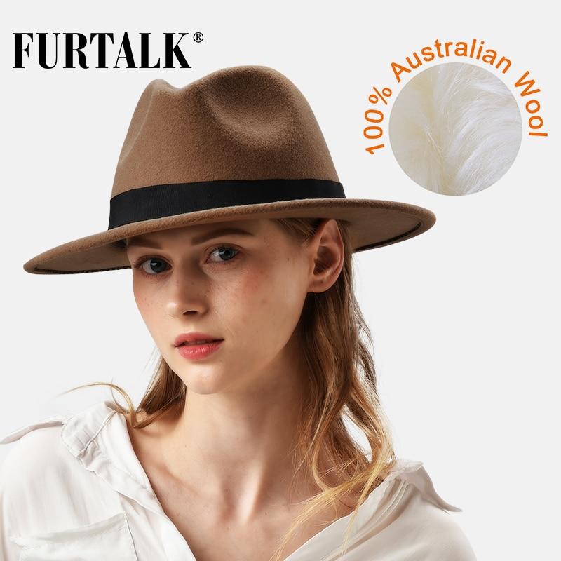 FURTALK 100% Australian Wool Fedora Hat For Women Men Vintage Wide Brim Fedoras Felt Hat Jazz Couple Cap Black Grey Brown Hat