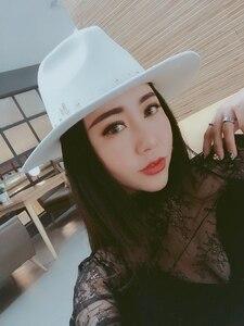 Image 2 - Edycja han standardowy biały kapelusz z wełny Fedoras nowa anglia jesienno zimowa nitowa czapka przypływ męskie kapelusze damskie