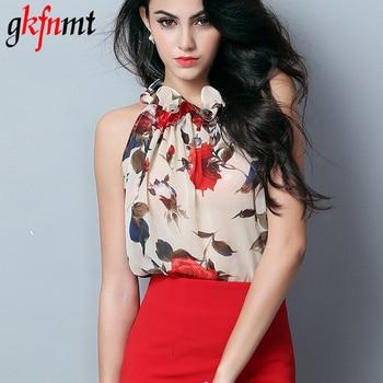 35833ec3a5 Gkfnmt 2018 nueva moda mujer sin mangas chifón estampado Floral blusa  volantes cuello alto Tops camisa Blusas femeninas XXL