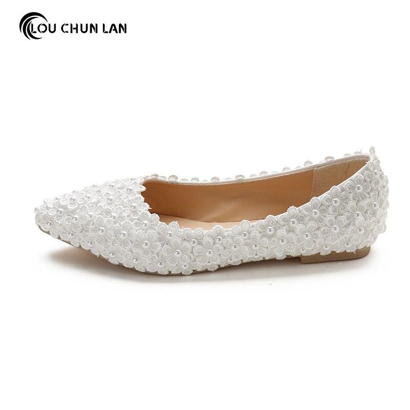 40 45 Gratuite Bout De Fleur Livraison Plat Louchunlan Pointu Blanc Femmes Grande Bouche Chaussures Mariage Mariée Taille Profonde Peu xqCUp4Tw