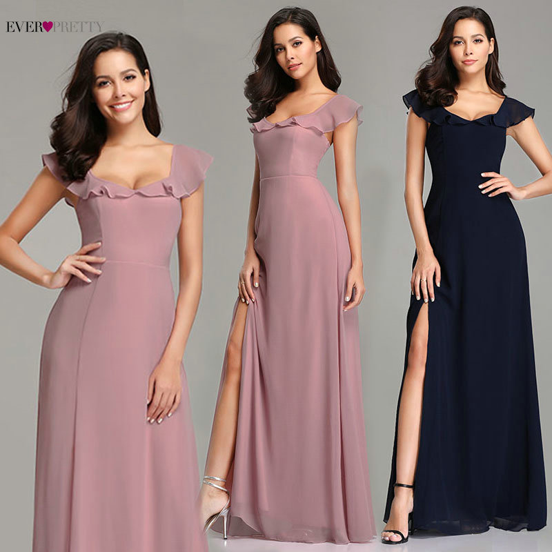 Navy Blue Evening Dresses Ever Pretty EZ07737 2020 New Arrival Elegant Pink Long A-line Chiffon Sexy Leg Slit Formal Party Gowns