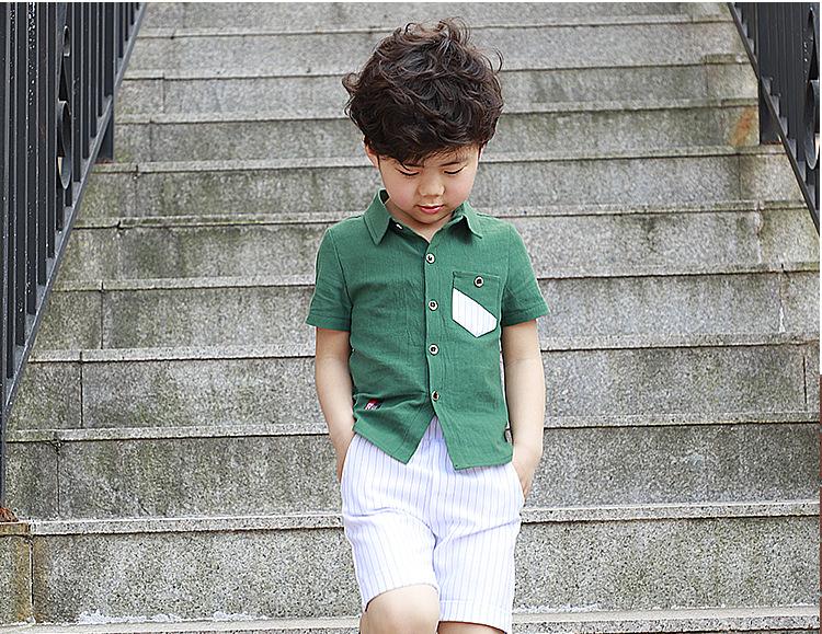 40623bbc93db HTB1CfMXkmtYBeNjSspkq6zU8VXaF - School Boy Summer Clothing Set 2018 Boys  Clothes Kids Short Sleeves Shirt+ Stripe Shorts