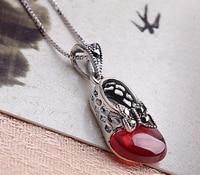 Marka yeni ayar 925 gümüş kırmızı granat kolye tay gümüş kelebek prenses ayakkabı zincir kolye takı