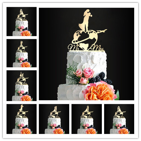 Travel Themed Wedding Cake Topper World Map Cake Topper Airplane Cake Topper Map Silhouette Wooden image