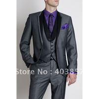 Designer Wedding Suit Fashion Dinner Jacket Tuxedo Custom Made Suit Grey Suit Free Shipping (Jacket+Pants+Vest) 277