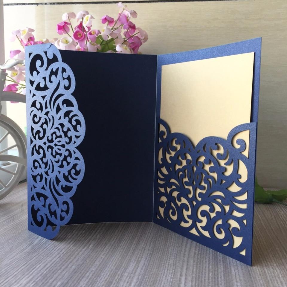 30pcs Lot Tri Fold Lace Design Wedding Invitation Card Laser Cut Pocket Cards Rsvp