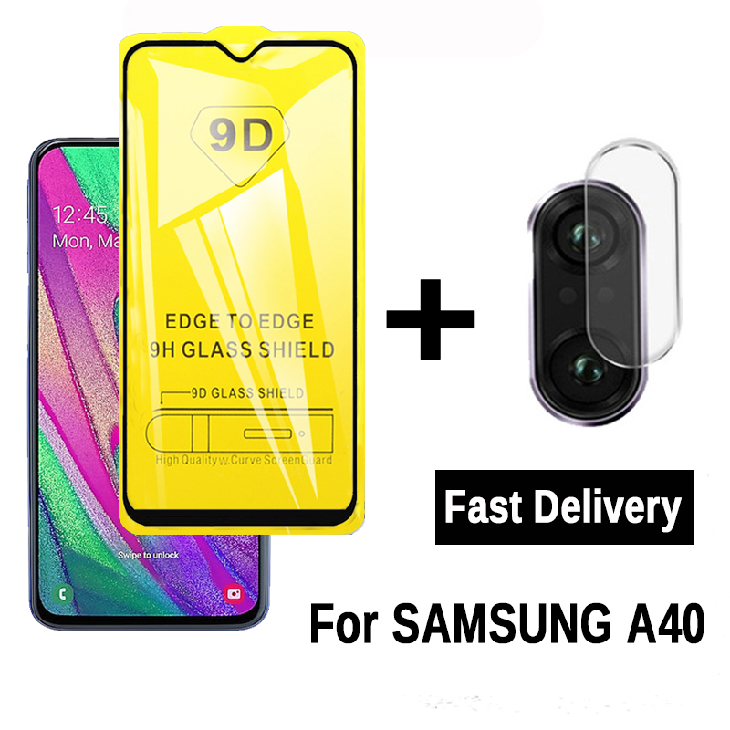 2-in-1 9D Full Glue Tempered Glass For Samsung Galaxy A40 A 40 Camera Screen Protector On Samsun Glaxy A40 Protective Glass Film