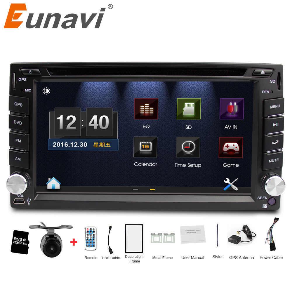 Eunavi ダブル 2 喧騒車の Dvd プレーヤーでユニバーサルカーラジオ GPS ナビゲーションダッシュカー Pc ステレオヘッドユニットビデオ + 無料地図 + フリーカメラ