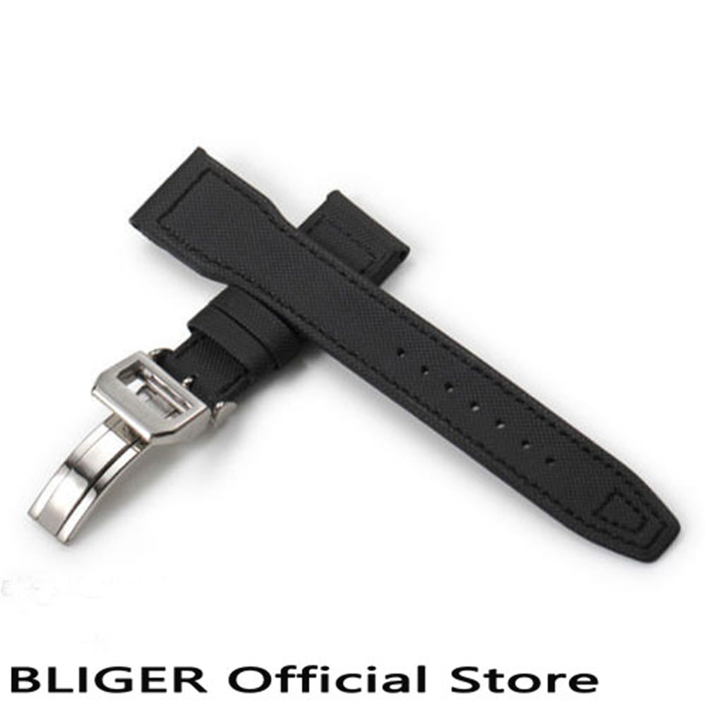 1PCS 22MM Width Stainless Steel Deployment Buckle Black Genuine Leather Strap Fit For Men s Watch