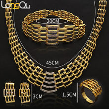 Summer African women Delicate Jewelry Sets Multi Layers Stainless steel gold color Pendant Geometry Choker Necklace Earrings Set(China)