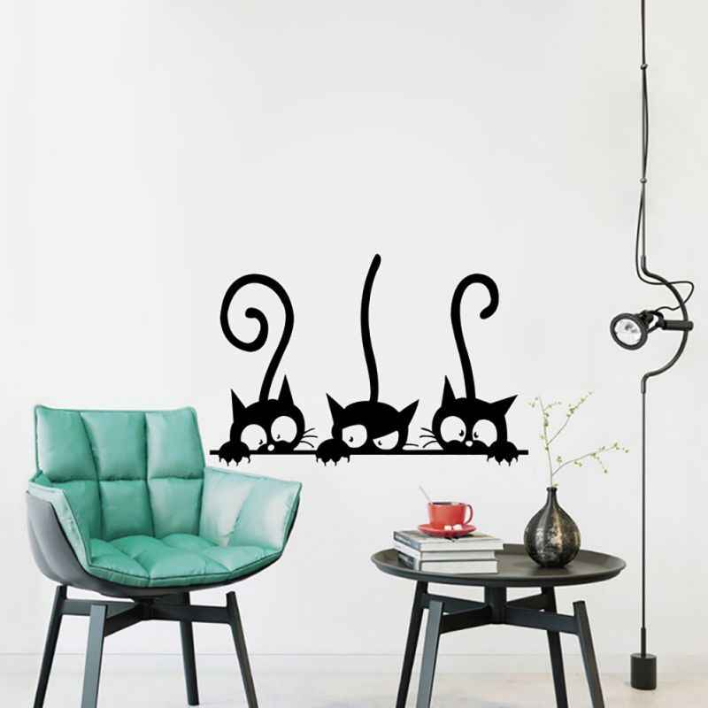 Lovely Three Black Cartoon Cat Wallpaper Living Room personality Vinyl Wall Decals Funny Cats Wall Paper for Kid's Room