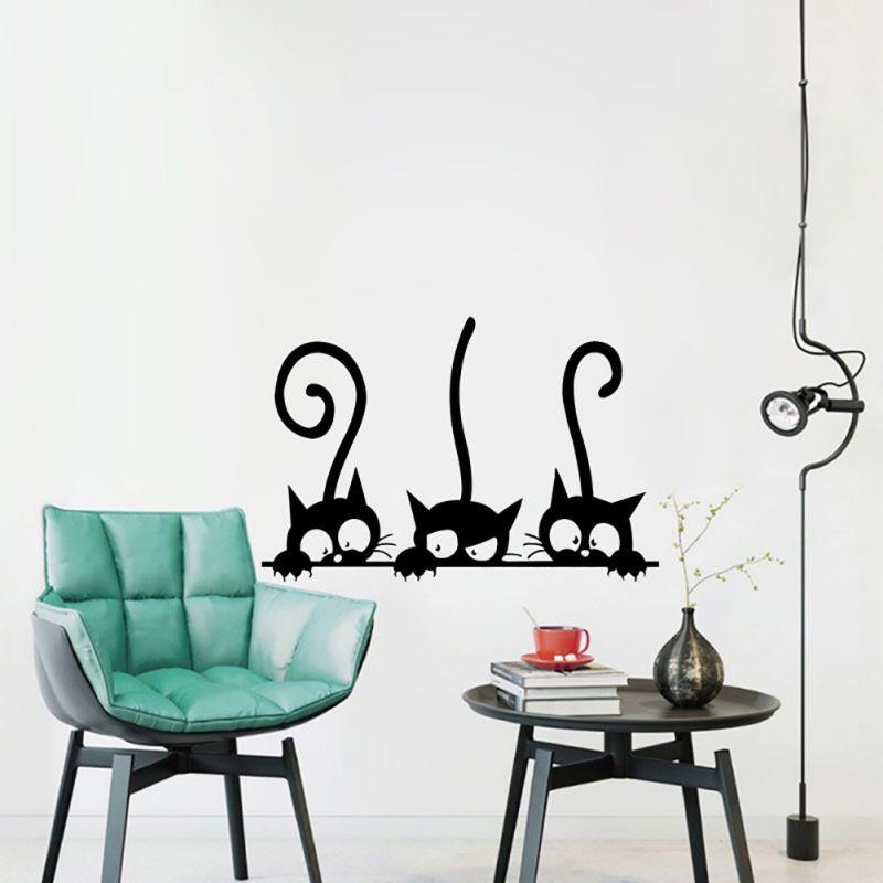 Милые три черных мультяшных кота обои Гостиная личность виниловые наклейки на стены Смешные кошки обои для детской комнаты