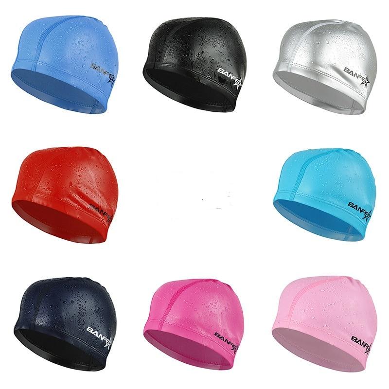 Waterproof PU Fabric Protect Ears Long Hair Sports Swim Pool Hat Swimming Cap Free size for Men & Women Adults