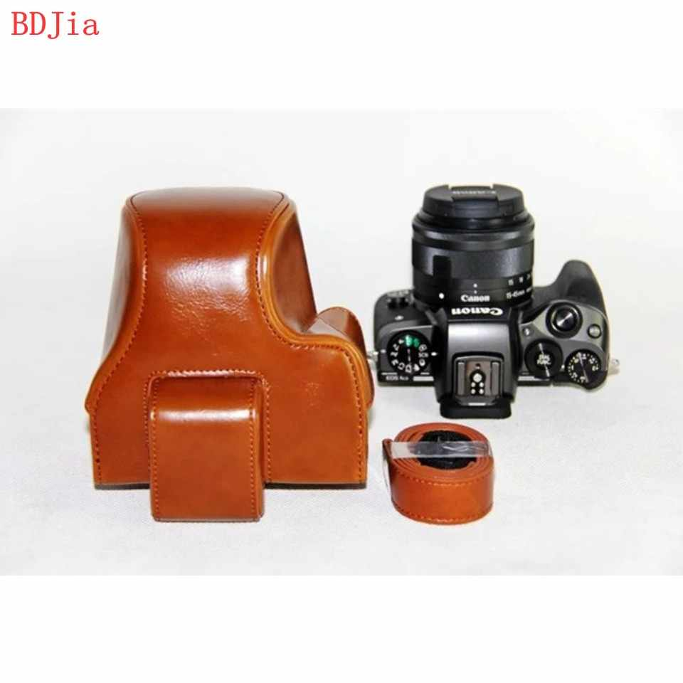 New PU Leather Oil Skin Camera Case Bag Cover for Canon EOS M50  M5 EOS Kiss M camera with 15-45mm Lens With Shoulder Strap