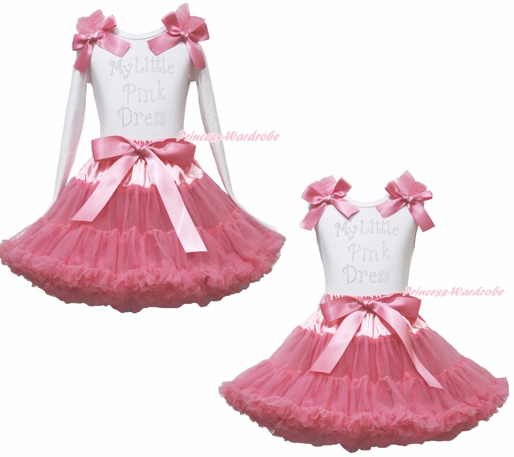 My Little Pink Dress White Top Girl Pink Satin Bow Skirt Outfit Set 1-8Year valentine daddy main squeeze white top pink floral girl skirt outfit set 1 8year