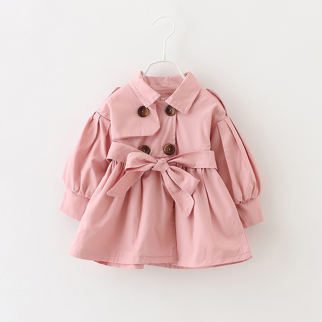 Longo estilo infantil meninas Blusão 2016 outono nova cor sólida turn down jacket collar bonito arco crianças dos miúdos das meninas do bebê pano