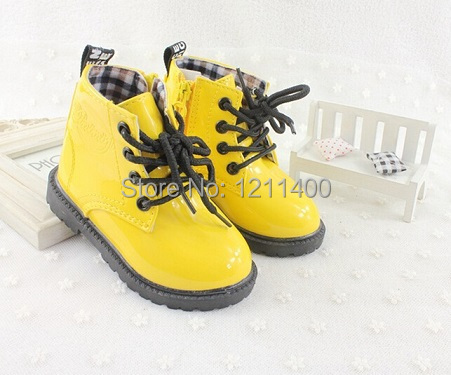 Fashion boys and girls boots autumn and spring children boots Kids Water proof boots baby PU leather martin boots