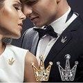 2016 Moda 1 pcs Marca Elegante coroa de cristal Acessórios de presente De casamento de Cristal Broches Para As Mulheres Homem Coroa Lapela Bijoux