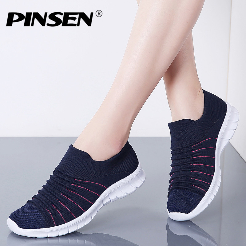 PINSEN Sneakers Women Flats Shoes Summer Breathable Flying Weaving Casual Shoes Woman Slip-on Creepers Moccasins Ladies Shoes(China)