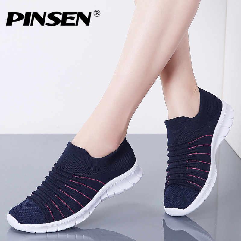 PINSEN 스니커즈 여성 플랫 슈즈 여름 통기성 플라잉 위빙 캐주얼 슈즈 여성 슬립 온 크리퍼 모카신 여성 신발
